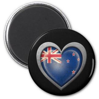 New Zealand Heart Flag with Metal Effect Fridge Magnet