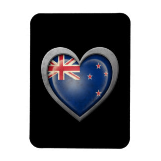 New Zealand Heart Flag with Metal Effect Flexible Magnet