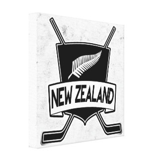 New Zealand Ice Hockey Flag Stretched Canvas Prints