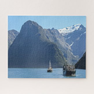 New Zealand Jigsaw Puzzle - Cruising Milford Sound