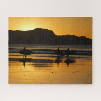 New Zealand Jigsaw Puzzle Gisborne surfer sunrise