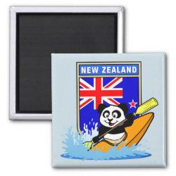 Square Magnet with New Zealand Kayaking Panda design