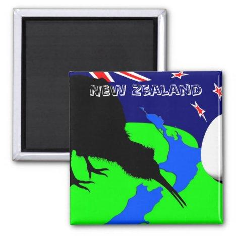 New Zealand, Kiwi Bird - Art (Fridge Magnet)