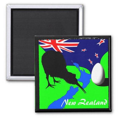 New Zealand, Kiwi, Flag (Magnet)