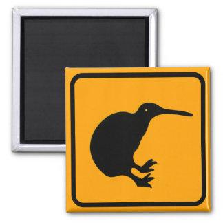New Zealand Kiwi Icon Yellow Diamond Warning Sign 2 Inch Square Magnet