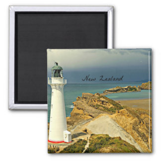 New Zealand Landscape with Lighthouse 2 Inch Square Magnet