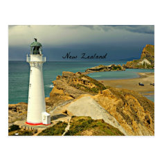 New Zealand Landscape With Lighthouse Postcard at Zazzle
