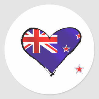 New Zealand love heart flag gifts Round Stickers