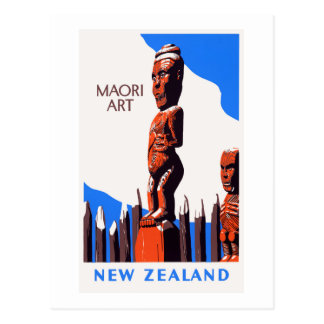 New Zealand Maori Art Vintage Poster Restored Postcard