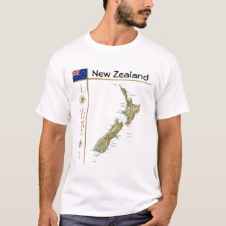 New Zealand Map + Flag + Title T-Shirt
