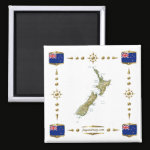 New Zealand Map Flags Magnet
