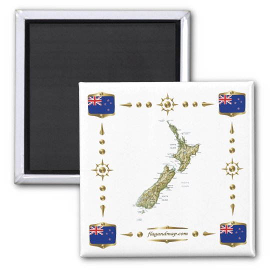 New Zealand Map + Flags Magnet