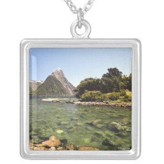 New Zealand, Mitre Peak, & Bowen River entering Silver Plated Necklace