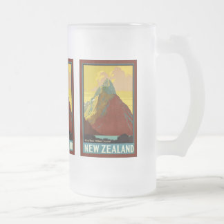 New Zealand ~ Mitre Peak ~ Milford Sound Frosted Glass Beer Mug
