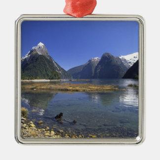 New Zealand, Mitre Peak & Milford Sound, Square Metal Christmas Ornament