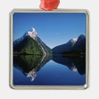 New Zealand, Mitre Peak, Milford Sound, Square Metal Christmas Ornament