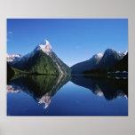 New Zealand, Mitre Peak, Milford Sound, Poster