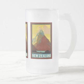 New Zealand ~ Mount Cook ~ Vintage Travel Frosted Glass Beer Mug