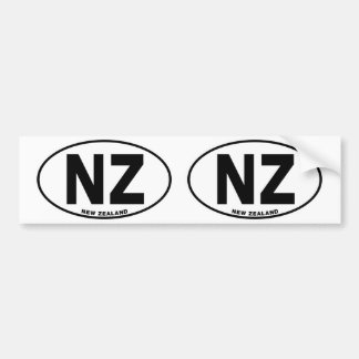 New Zealand NZ Oval ID Identification Code Initial Bumper Sticker