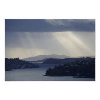 New Zealand, Otago, Dunedin, Light Shafts over Posters