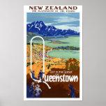 New Zealand Queenstown Vintage Travel Poster