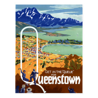 New Zealand Queenstown Vintage Travel Poster Postcard