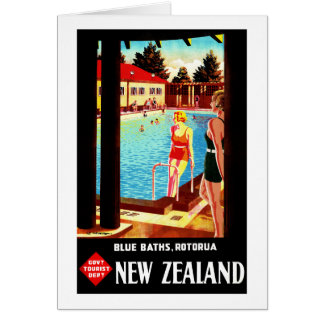 New Zealand Rotorua Vintage Poster Restored Card