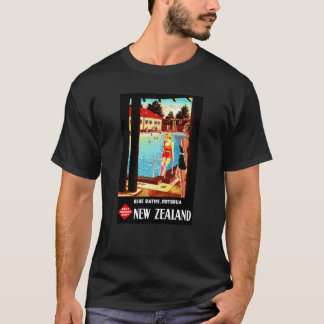 New Zealand Rotorua Vintage Poster Restored T-Shirt