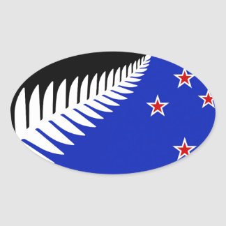 New Zealand Silver Fern Flag Oval Sticker