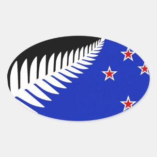 New Zealand Silver Fern Flag Oval Sticker