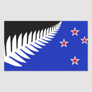 New Zealand Silver Fern Flag Rectangular Sticker