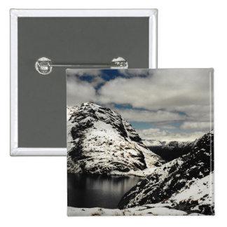New Zealand Snowy Mountain Landscape Button Pin