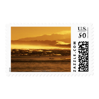 New Zealand, South Island, ocean waves and Postage