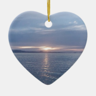 New Zealand Sunset Double-Sided Heart Ceramic Christmas Ornament