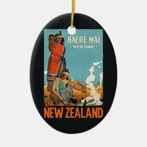 New Zealand Vintage Travel Ornament