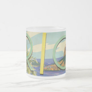 New Zealand Vintage Travel Poster Frosted Glass Coffee Mug