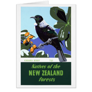 New Zealand Vintage Travel Poster Restored Card