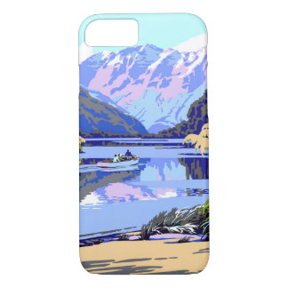 New Zealand Vintage Travel Poster Restored iPhone 8/7 Case