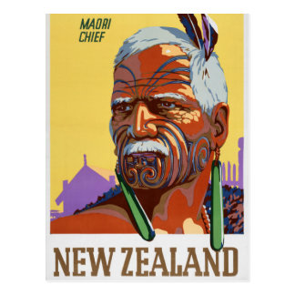 New Zealand Vintage Travel Poster Restored Postcard