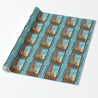 New Zealand vintage travel wrapping paper