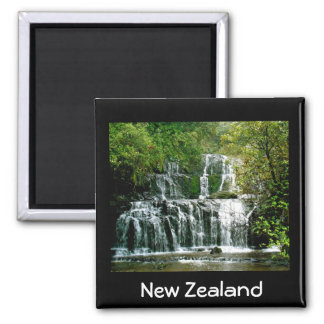 New Zealand Waterfall - Purakaunui Falls 2 Inch Square Magnet