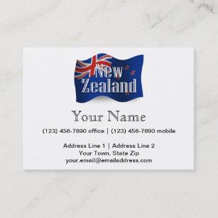 New zealand business cards zazzle new zealand waving flag business card reheart Choice Image