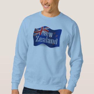 New Zealand Waving Flag Pullover Sweatshirt
