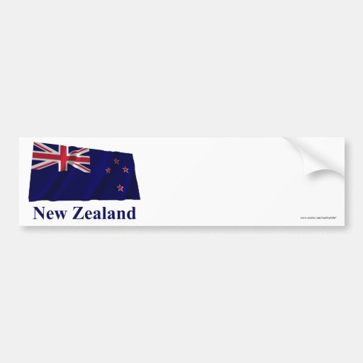 New Zealand Waving Flag with Name Bumper Stickers