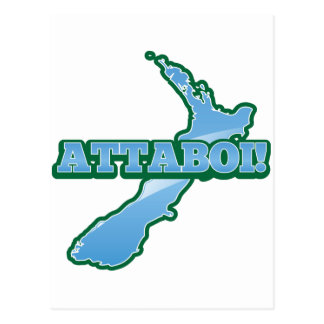 NEW ZEALAND with a map ATTABOI! Postcard