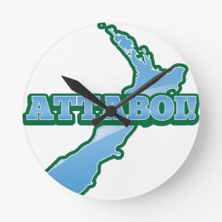 NEW ZEALAND with a map ATTABOI! Round Clock