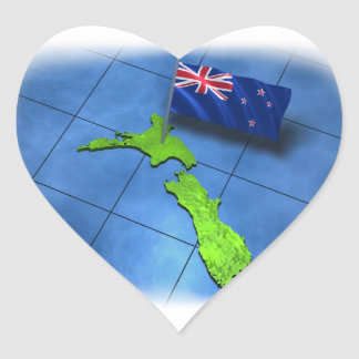 New Zealand with its own flag Heart Sticker