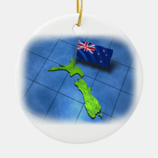 New Zealand with its own flag Double-Sided Ceramic Round Christmas Ornament