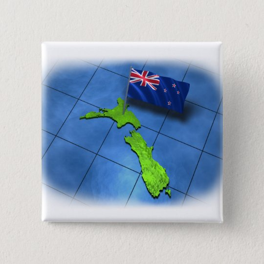 New Zealand with its own flag Pinback Button