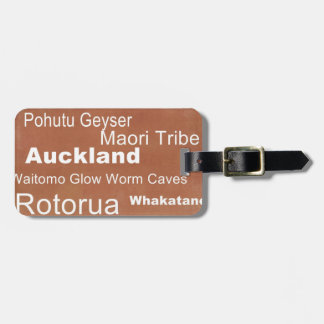 New Zealand Word Art Luggage Tag